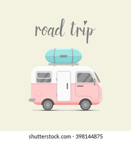 Vector caravan trailer with baggage box. Mobile home vector illustration. Traveler truck flat vector icon. Family traveler truck summer trip concept. Logo or emblem concept. Road trip. Pink trailer