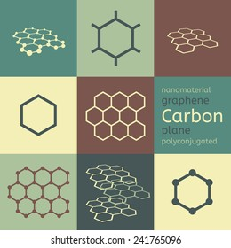 Vector carbon graphene nanomaterial chemical structure eight icon set