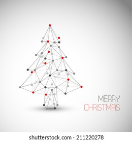Vector card with abstract christmas tree made from lines and dots (low poly art)