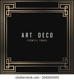 Vector card. Art Deco style. Dark golden geometric frame on black background.