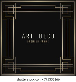 Vector card. Art Deco style. Dark golden geometric frame on black background.
