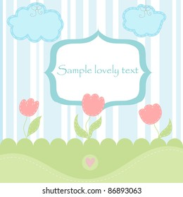 vector card background with cute gentle tulips, clouds and heart