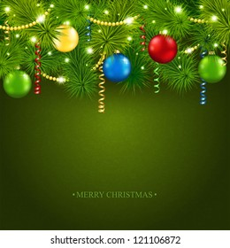 Vector card with a beautiful Christmas tree