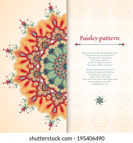 Vector card. Beautiful floral round pattern in vintage oriental style.
