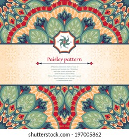 Vector card. Beautiful floral round pattern in vintage style. Inset with decorative element in the middle for your text.