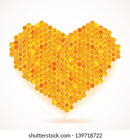 Vector card with Big Heart Honeycomb Illustration