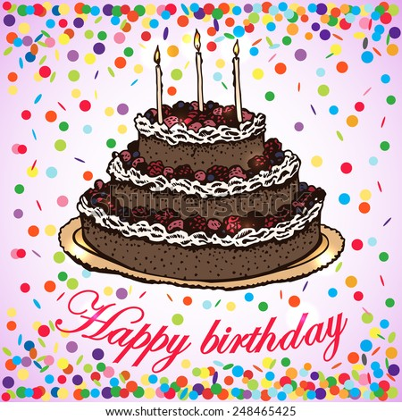 Vector Card Birthday Cake Handdrawing Vector Stock Vector Royalty
