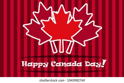 Vector card by day of Canada. Maple leaves on a red striped background.
