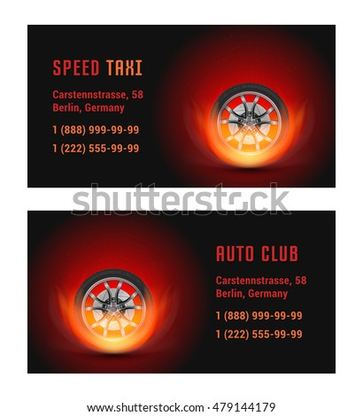 Vector Card Car Wheel Fire Template Stock Vector Royalty Free