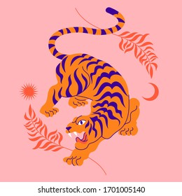 Vector card with chinese tiger in boho asian style. Beautiful animal print design. For fabric, wall art, interior design, social media post, packaging. Floral branch, crescent moon, star, magic.
