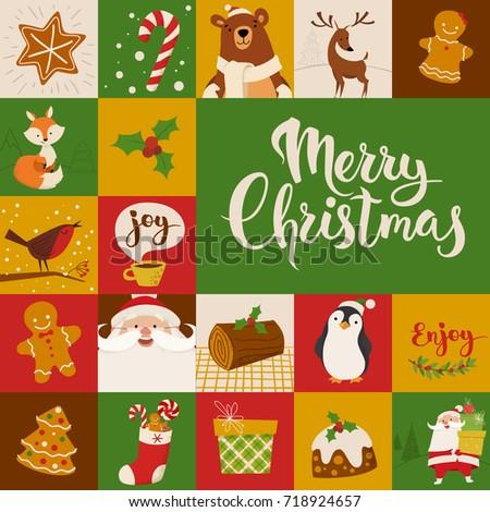 Vector Card Christmas Cartoon Characters Symbols Stock Vector