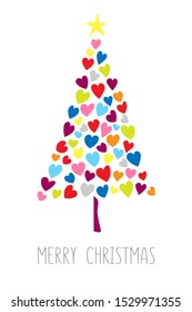 Vector card with christmas tree made from hearts and dots. Abstract cute decorative illustration for invitation. New Year tree made with hearts