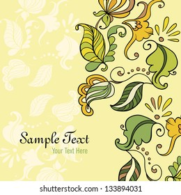 Vector Card consist of Ornate Flowers