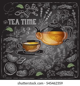 Vector card with cup, pot, spicy, herb and text Tea Time. White lines on dark background.