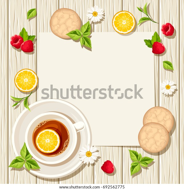 Vector card with cup of tea, cookies, lemons, raspberries and leaves on a wooden background.