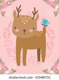 vector card with cute animal. small deer