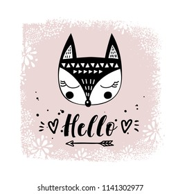 Vector card with cute fox. Illustration for children's prints, greetings, posters, t-shirt, packaging, invites. Cute animal. Elements for your design. Postcard with hello text. Funny cartoon animal.