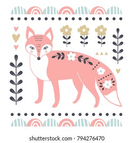 Vector card with cute fox. Illustration for children's prints, greetings, posters, t-shirt, packaging, invites. Cute animal. Element for your design. Vector illustration.