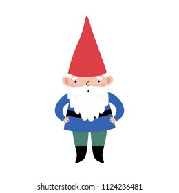 Vector card with cute gnome