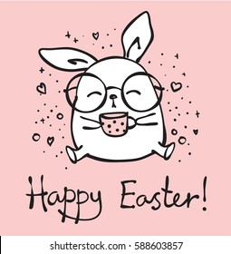 Vector card with cute hipster rabbit and hand drawn text - Happy Easter