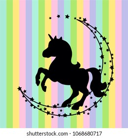 Vector card with cute unicorn. Magic unicorn poster, greeting card. Black silhouette unicorn on a rainbow background.