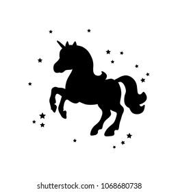 Vector card with cute unicorn. Magic unicorn poster, greeting card. Black silhouette of a unicorn on a white background.