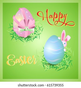 Vector card to the day of Easter. Square postcard with two ornamental eggs with in green nests and rabbit .