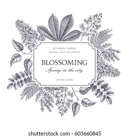 Vector card design with hand drawn blossoming trees. Floral wedding invitation template. Vintage flower illustration