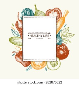 Vector card design with ink hand drawn vegetables and spice sketch. Vintage healthy food illustration.