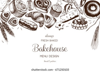 Vector card design with ink hand drawn baking illustration. Vintage template with bread and pastries sketch. Bakery or bakehouse menu on white background