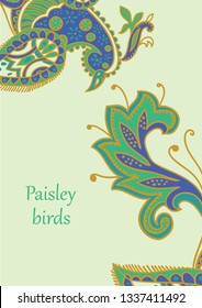 Vector card design in Paisley style. Drawn firebird and tail with text placed in the lower left corner. Great for postcard, greeting, wedding and invitation cards, placing text.