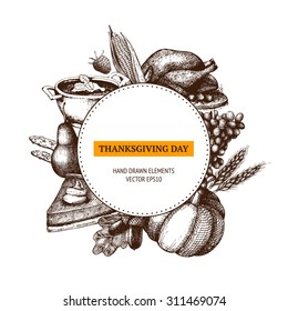 Vector card design for Thanksgiving day with ink hand drawn autumn illustration. Harvest background.