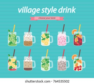 Vector card with flat cartoon village style drinks of different flavor on bright blue background for web of print