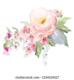 Vector card with floral pattern in watercolor style. Vintage handmade illustration.