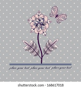 Vector card with flower and butterfly.