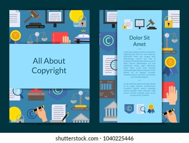 Vector card or flyer template with flat style copyright elements and icons illustration