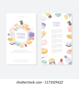 Vector card or flyer template for hygiene care products and bathroom accessories. Printed materials for brochures, flyers, banners.