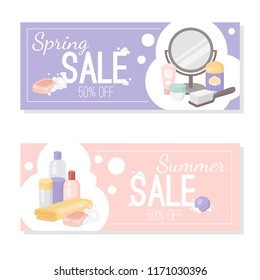 Vector card or flyer template for hygiene care products and bathroom accessories. Sale or discount promo banner for promotion of bathroom products.