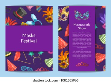 Vector card or flyer templates set with masks and party