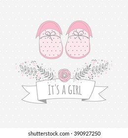 Vector card ITS A GIRL with baby's booties. Background with dots. Floral tag