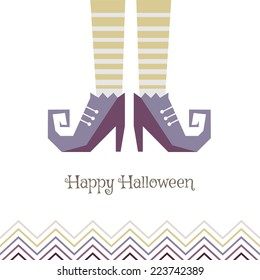 Vector card for Halloween. Boots sorceress. Can be used for flyers, for the banner or postcard.