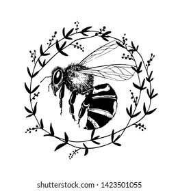 Vector card with hand drawn bee in floral wreath made with ink. Beautiful animal design elements, logo template