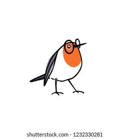Vector card with hand drawn cute robin wearing glasses. Ink drawing, beautiful animal design elements.