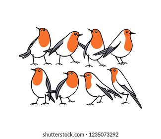 Vector card with hand drawn cute robins. Ink drawing, beautiful animal design elements.