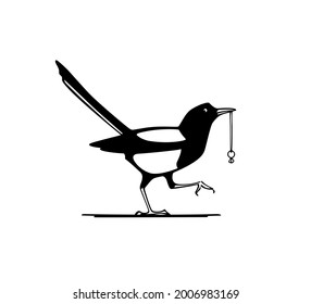 Vector card with hand drawn cute Magpie sneaking with stolen engagement ring. Ink drawing, graphic style. Beautiful wedding or animal design elements.