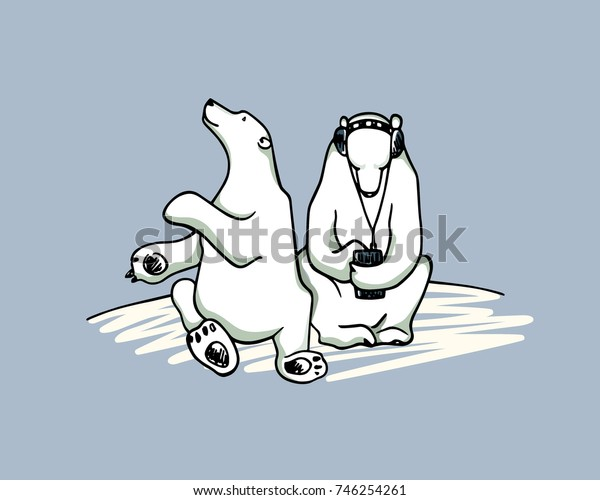 Vector card with hand drawn cute polar bears. One holds its smartphone, the other acts playful and curious. Funny illustration of behavioral patterns.