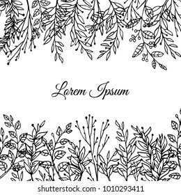 Vector card with hand drawn floral elements. Beautiful floral design elements, perfect for wedding announcements and invitations
