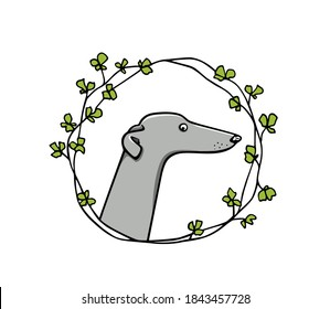 Vector card with hand drawn greyhound dog in floral wreath. Beautiful design elements, ink drawing, funny illustration of a cute dog
