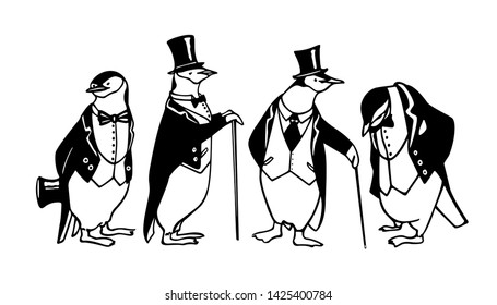 Vector card with hand drawn group of chinstrap penguins in black tie. Ink drawing, funny illustration, graphic style. Beautiful animal design element