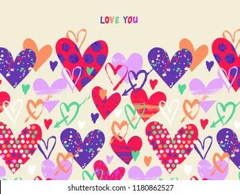 Vector card with hand drawn hearts for Valentine day and words love you. Background with doodle hearts, dots, love. Romantic hand drawn vector doodle Valentines day background. Wedding invitation card